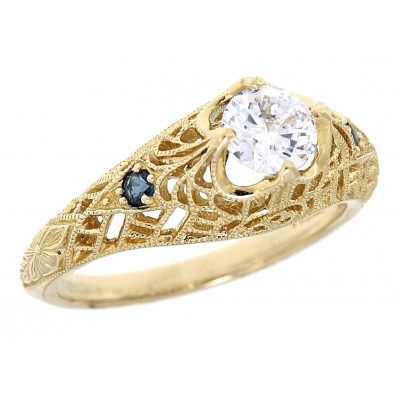 Diamond Filigree Ring with Blue Sapphire Accent Gemstones - 14kt White Gold