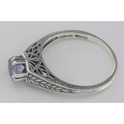 Beautiful Victorian Style Amethyst Solitare Filigree Ring - Sterling Silver