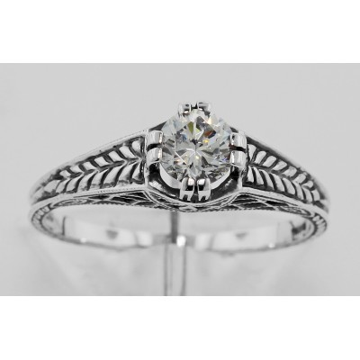 Beautiful Victorian Style CZ Solitare Filigree Ring - Sterling Silver