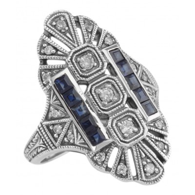 Art Deco Style White Topaz / Genuine Blue Sapphire Ring - Sterling Silver