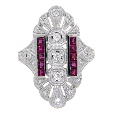 Art Deco Style 14kt White Gold Diamond and Emerald Ring