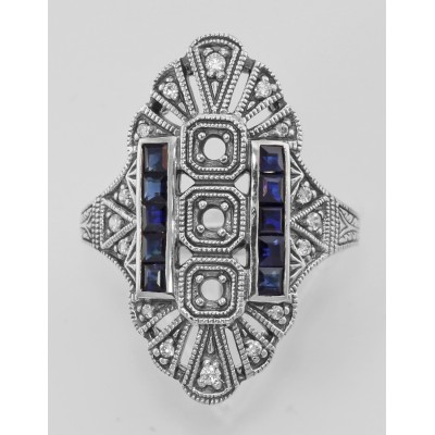 3 Stone Semi Mount Sapphire Ring - Art Deco Style - Sterling Silver