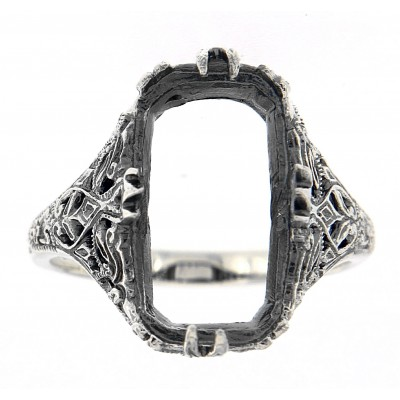 Victorian Style Semi Mount Filigree Ring Holds 16x8mm Stone - Sterling Silver