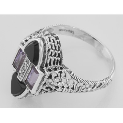 Antique Style Four Stone Black Spinel Amethyst  Diamond Ring - Sterling Silver
