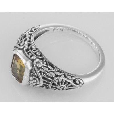 Victorian Style Citrine Filigree Ring with Floral Design - Sterling Silver