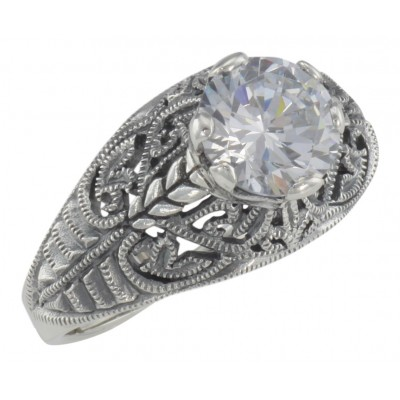 Classic Victorian Style Cubic Zirconia Filigree Ring - Sterling Silver