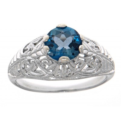 Victorian Style Genuine London Blue Topaz Solitaire Filigree Ring 14kt White Gold