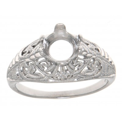 14kt White Gold Semi Mount 7mm Classic Victorian Style Filigree Ring