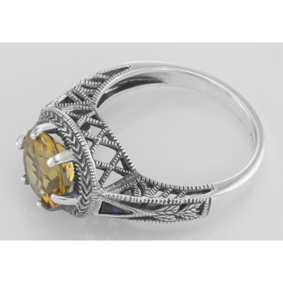 Victorian Style Citrine Solitare Ring with Sapphires Accents - Sterling Silver