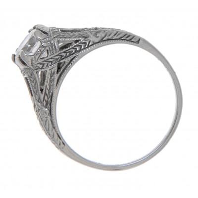 Antique Style CZ Filigree Ring 14kt White Gold