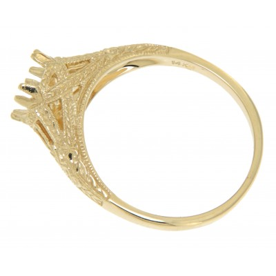 14kt Yellow Gold Semi Mount Antique Style Solitaire Filigree Ring