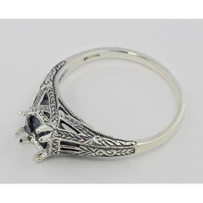 Semi Mount Antique Style Solitaire Filigree Ring Sterling Silver
