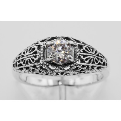 Beautiful White Topaz Solitare Filigree Ring - Sterling Silver
