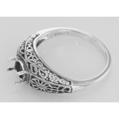 Victorian Style 5mm Semi Mount Filigree Ring - Sterling Silver