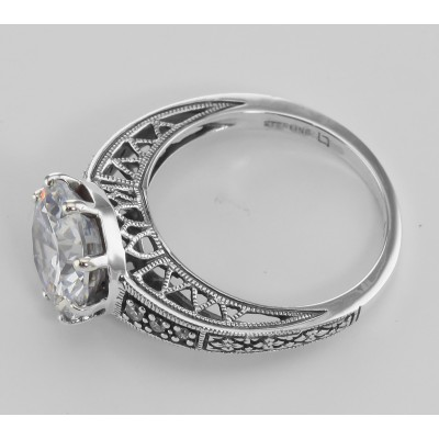 Classic Victorian Style Cubic Zirconia Solitare Filigree Ring - Sterling Silver