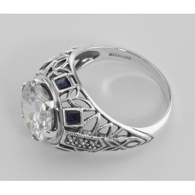 Art Deco Style Sterling Silver Filigree CZ Ring w/ Sapphires
