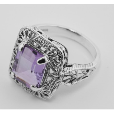 Classic Art Deco Style Amethyst Filigree Ring - Sterling Silver