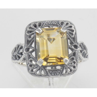 Classic Art Deco Style Golden Citrine Filigree Ring - Sterling Silver
