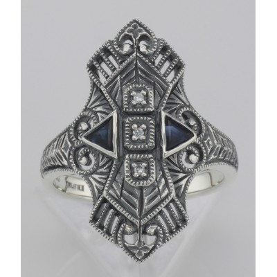 Art Deco Style Filigree Ring w/ Sapphires / 3 CZs - Sterling Silver