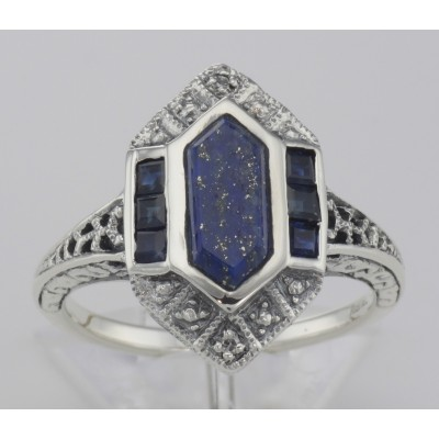 Art Deco Style Lapis Sapphire and Diamond Filigree Ring - Sterling Silver