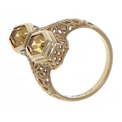 Art Deco Style Genuine Golden Citrine Filigree Ring 14kt Yellow Gold