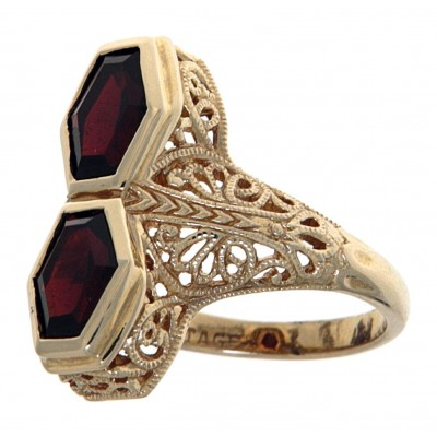 Art Deco Style Genuine Red Garnet Filigree Ring 14kt Yellow Gold