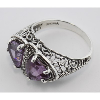Unique Art Deco Style Genuine Amethyst Filigree Ring - Sterling Silver