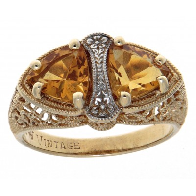 Unique Art Deco Style Citrine Filigree Ring 14kt Yellow Gold