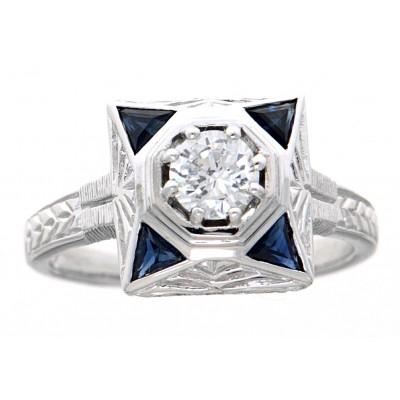 Art Deco Style CZ Filigree Ring w/ Genuine Blue Sapphires 14kt White Gold
