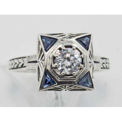 Art Deco Style White Topaz Filigree Ring w/ Blue Sapphires - Sterling Silver