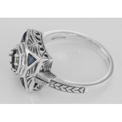Art Deco Style Semi-Mount Filigree Ring w/ Blue Sapphires - Sterling Silver