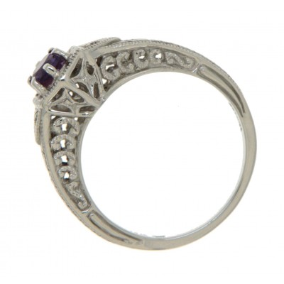 14kt White Gold Victorian Style Amethyst Filigree Ring w/ 2 Diamond Accents
