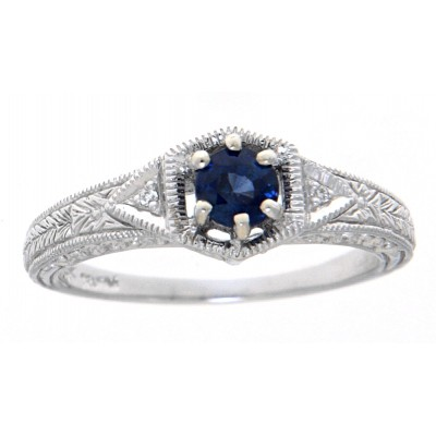 14kt White Gold Victorian Style Sapphire Filigree Ring w/ 2 Diamond Accents