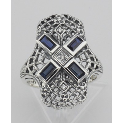 Art Deco Style Filigree Ring w/ Sapphire and 3 Diamonds - Sterling Silver