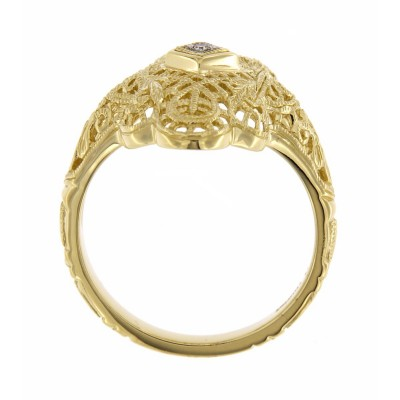 Lovely Victorian Style Filigree Ring w/ Diamond - 14kt Yellow Gold