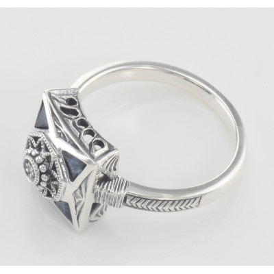 Art Deco Style Diamond and Genuine Blue Sapphire Ring - Sterling Silver