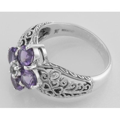 Classic Victorian Style Amethyst Filigree Ring w/ CZ Center - Sterling Silver