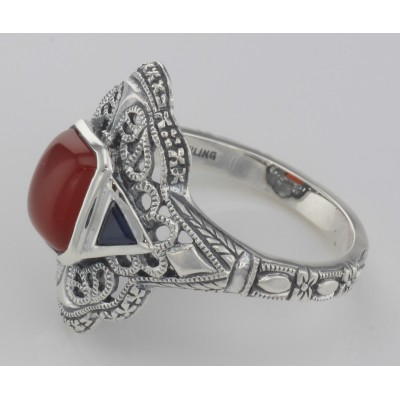 Art Deco Style Red Carnelian Filigree Ring Sapphire Accents - Sterling Silver