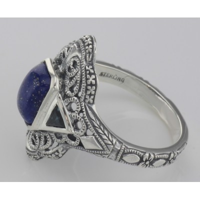Art Deco Style Blue Lapis Lazuli Filigree Ring Sapphire Accents Sterling Silver
