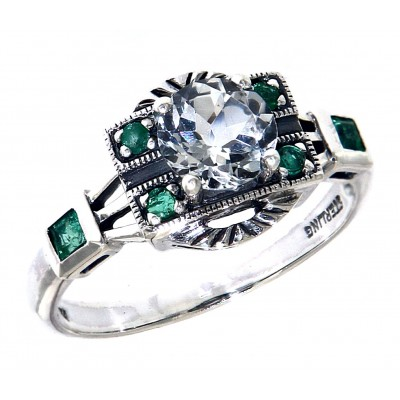 Sterling Silver White Topaz / Emerald Filigree Ring - Art Deco Style
