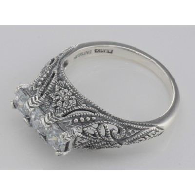 Art Deco Style Sterling Silver Filigree Ring with 3 Princess Cut White Topaz