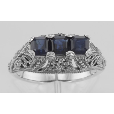 Art Deco Style Filigree Ring w/ 3 Princess Cut Blue Sapphires - Sterling Silver