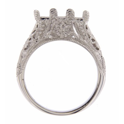 Art Deco Style 14kt White Gold Semi Mount Filigree Ring
