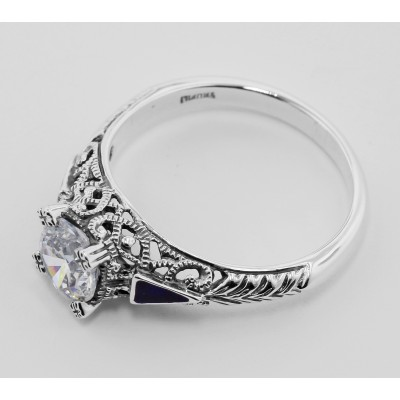 Filigree Ring w/ White Topaz and Enamel - Sterling Silver