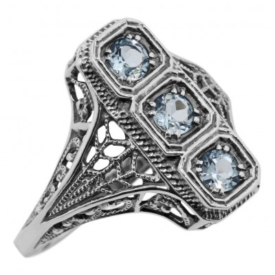 3 Stone Blue Topaz Filigree Ring - Sterling Silver