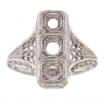 Classic 3 Stone Art Deco Style Ring - Semi Mount 14kt White Gold
