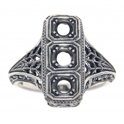 Classic Art Deco Style Ring - Semi Mount Sterling Silver