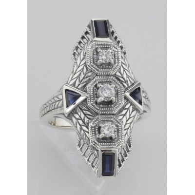 Art Deco Style Filigree Ring Genuine Sapphires  CZ - Sterling Silver