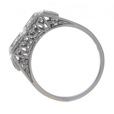 Art Deco Style CZ Filigree Ring w/ 2 Blue Sapphire - 14kt White Gold