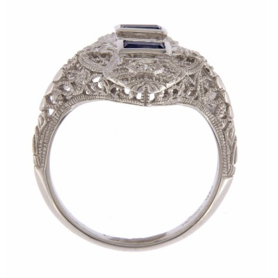 Art Deco Style Filigree Ring Blue Sapphires and 3 Diamonds - 14kt White Gold